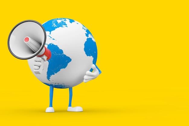 Mascotte de personnage de globe terrestre avec mégaphone rétro rouge sur fond jaune. rendu 3d