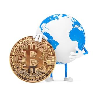 Mascotte de personnage de globe terrestre avec pièce de monnaie bitcoin dorée numérique et crypto-monnaie sur fond blanc. rendu 3d