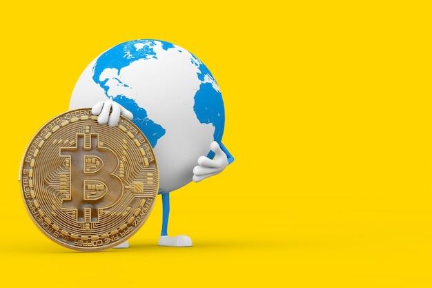 Mascotte de personnage de globe terrestre avec pièce de monnaie bitcoin dorée numérique et crypto-monnaie sur fond jaune. rendu 3d