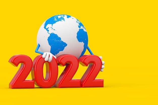 Mascotte de personnage de globe terrestre avec signe du nouvel an 2022 sur fond jaune. rendu 3d