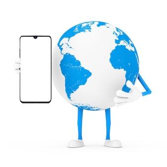 Mascotte De Personnage De Globe Terrestre Et Téléphone Mobile Moderne Avec écran Blanc Pour Votre Conception Sur Fond Blanc. Rendu 3d Photo Premium
