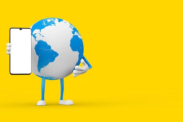 Mascotte de personnage de globe terrestre et téléphone mobile moderne avec écran blanc pour votre conception sur fond jaune. rendu 3d