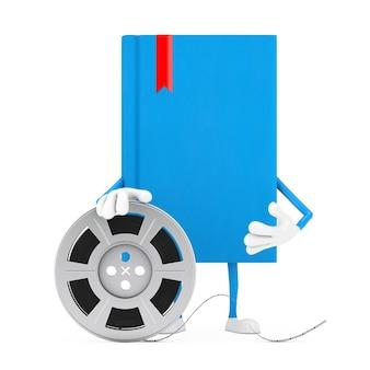 Mascotte de personnage de livre bleu avec bande de cinéma de bobine de film sur fond blanc. rendu 3d