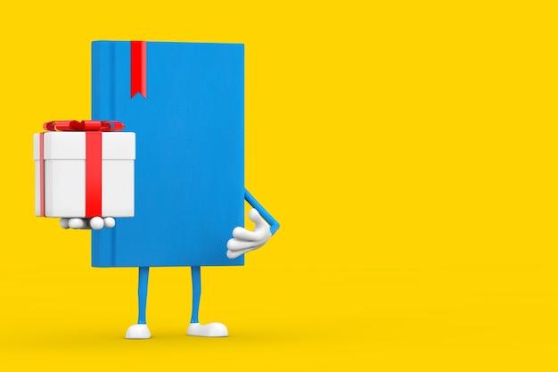 Mascotte de personnage de livre bleu avec boîte-cadeau et ruban rouge sur fond jaune. rendu 3d