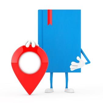 Mascotte de personnage de livre bleu avec broche de pointeur de carte sur fond blanc. rendu 3d