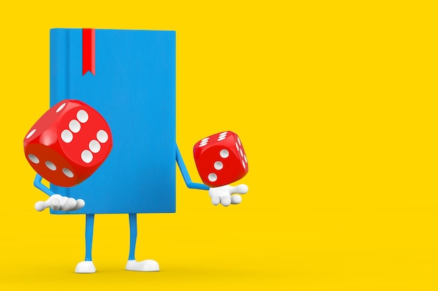 Mascotte de personnage de livre bleu avec des cubes de dés de jeu rouges en vol sur fond jaune. rendu 3d