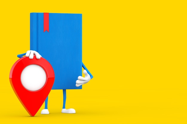 Mascotte de personnage de livre bleu avec épingle de pointeur de carte sur fond jaune. rendu 3d