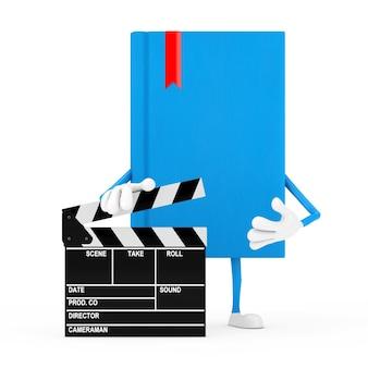 Mascotte de personnage de livre bleu avec film clapper board sur fond blanc. rendu 3d