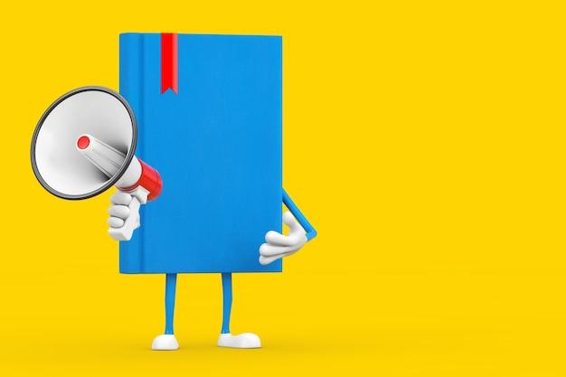 Mascotte de personnage de livre bleu avec mégaphone rétro rouge sur fond jaune. rendu 3d