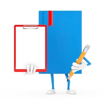 Mascotte de personnage de livre bleu avec presse-papiers en plastique rouge, papier et crayon sur fond blanc. rendu 3d