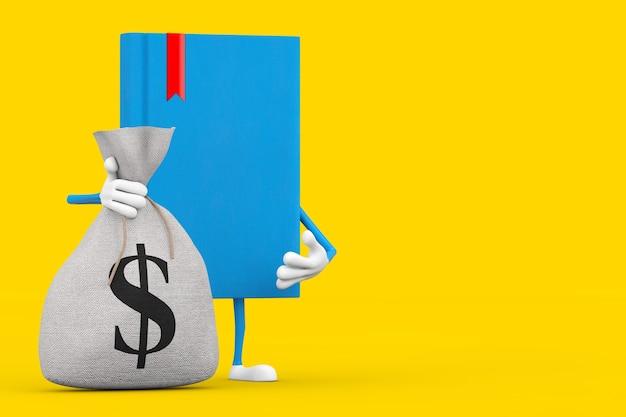 Mascotte de personnage de livre bleu avec un sac d'argent en toile rustique attaché ou un sac d'argent et un signe dollar sur fond jaune. rendu 3d