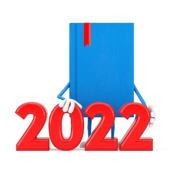 Mascotte de personnage de livre bleu avec signe du nouvel an 2022 sur fond blanc. rendu 3d