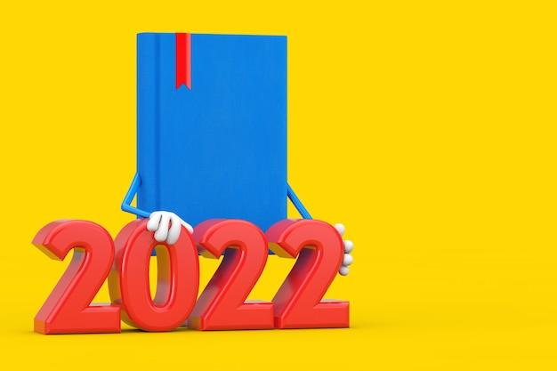 Mascotte de personnage de livre bleu avec signe du nouvel an 2022 sur fond jaune. rendu 3d