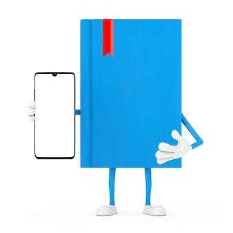 Mascotte de personnage de livre bleu et téléphone mobile moderne avec écran blanc pour votre conception sur fond blanc. rendu 3d