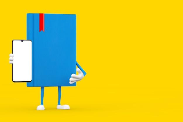 Mascotte de personnage de livre bleu et téléphone portable moderne avec écran blanc pour votre conception sur fond jaune. rendu 3d