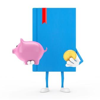 Mascotte de personnage de livre bleu avec tirelire et pièce d'un dollar d'or sur fond blanc. rendu 3d