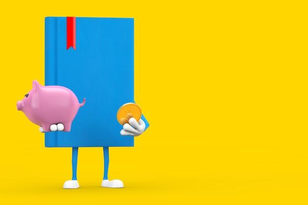 Mascotte de personnage de livre bleu avec tirelire et pièce d'un dollar d'or sur fond jaune. rendu 3d