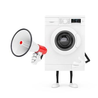 Mascotte de personnage de machine à laver blanche moderne avec mégaphone rétro rouge sur fond blanc. rendu 3d