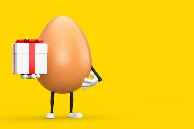 Mascotte de personnage d'oeuf de poulet brun avec boîte-cadeau et ruban rouge sur fond jaune. rendu 3d