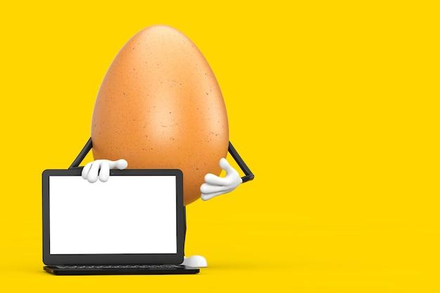 Mascotte de personnage d'oeuf de poulet brun avec ordinateur portable moderne et écran blanc pour votre conception sur fond jaune. rendu 3d