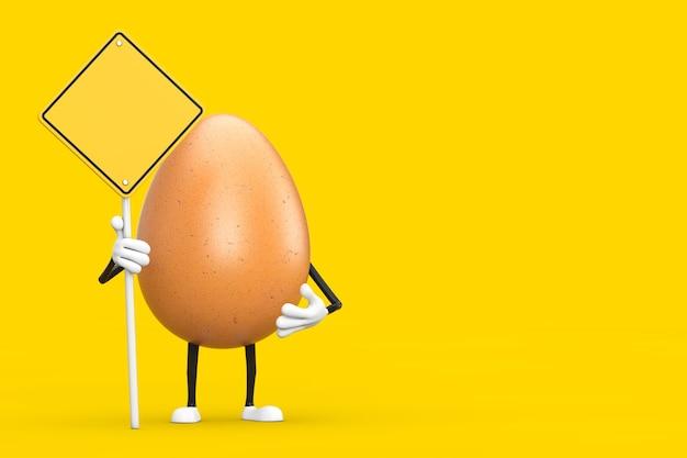 Mascotte de personnage d'oeuf de poulet brun avec panneau de signalisation jaune et espace libre pour votre conception sur fond jaune. rendu 3d