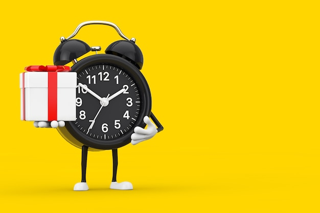 Mascotte de personnage de réveil avec boîte-cadeau avec ruban rouge sur fond jaune. rendu 3d