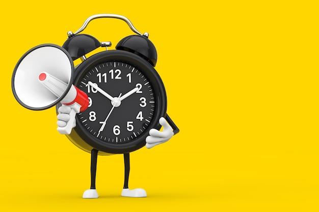 Mascotte de personnage de réveil avec mégaphone rétro rouge sur fond jaune. rendu 3d