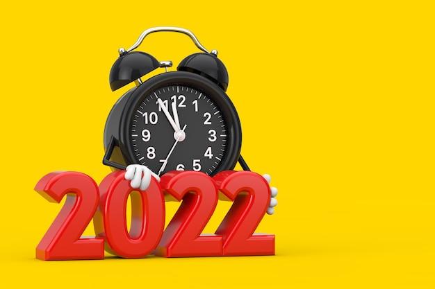 Mascotte de personnage de réveil avec signe rouge du nouvel an 2022 sur fond jaune. rendu 3d