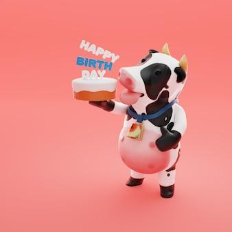 Mascotte de vache rendu 3d avec gâteau