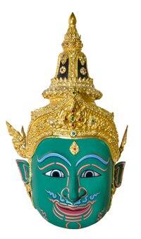 Le masque d'acteur vert utilisait des couvre-chefs pour la mise en scène isolés sur fond blanc, la pantomime de la culture traditionnelle en thaïlande