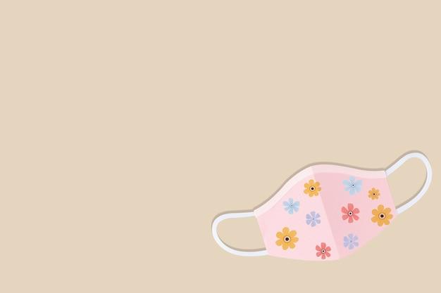 Masque chirurgical artisanal en papier floral sur une illustration de fond beige