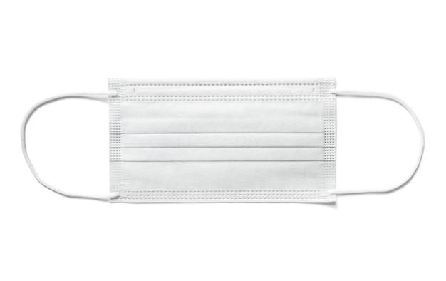 Masque chirurgical jetable isolé sur fond blanc. protection contre le covid19