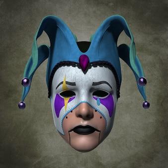 Masque de clown dans une coiffe. illustration 3d