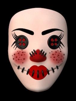 Masque de clown avec yeux en boutons. illustration 3d