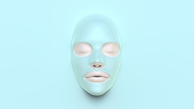 Masque de feuille bleue sur fond bleu 3d render