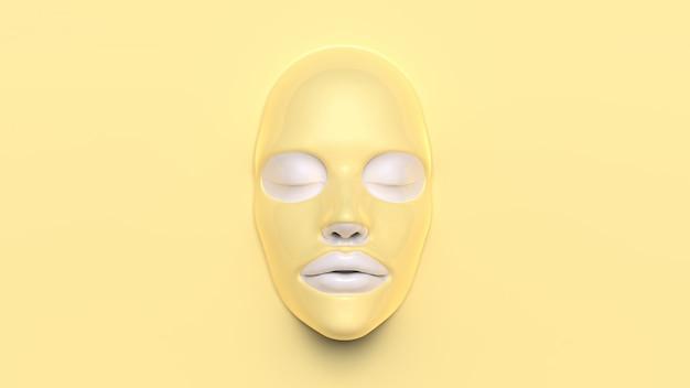 Masque en feuille jaune sur fond jaune 3d render