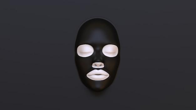 Masque de feuille noire sur fond noir 3d render