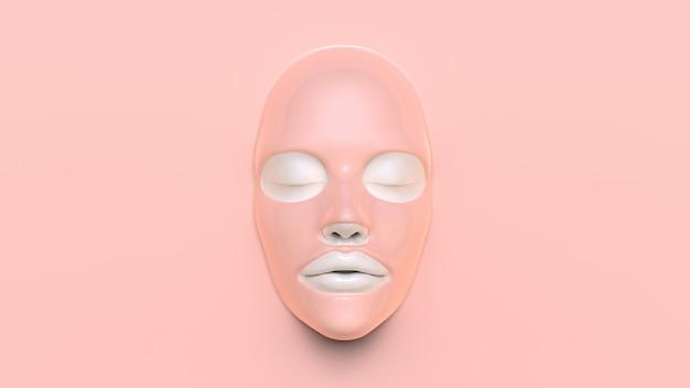 Masque de feuille rose sur fond rose 3d render
