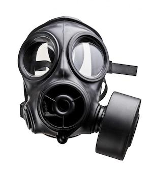 Masque à gaz du soldat de l'armée britannique sur blanc