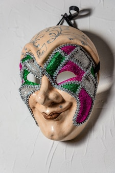 Masque joker sinistre n mur blanc