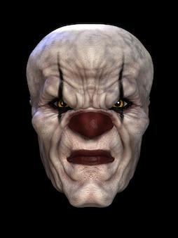 Le masque d'un mauvais clown. illustration 3d