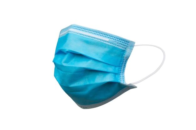 Masque médical ou masque hygiénique isolé sur fond blanc avec un tracé de détourage