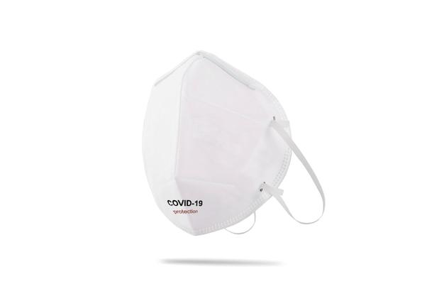 Masque médical pour la protection du virus corona avec des courroies d'oreille en caoutchouc isolé sur fond blanc