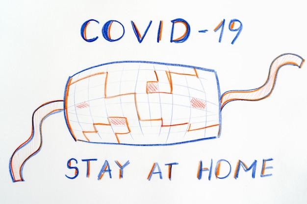 Masque médical de protection lors d'une pandémie. il est important de rester à la maison