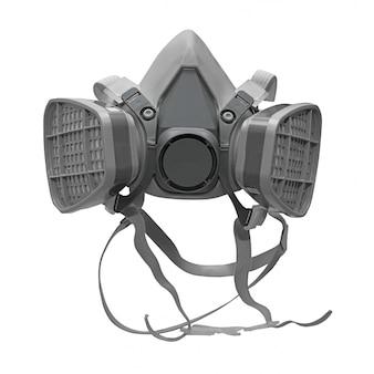Masque de protection chimique isolé sur blanc