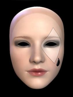 Le masque triste d'une illustration 3d de poupée de clown