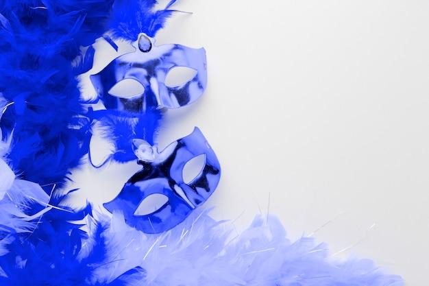 Masques de carnaval festif avec des plumes