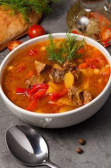 Mastava est une soupe traditionnelle ouzbek dans un bol blanc