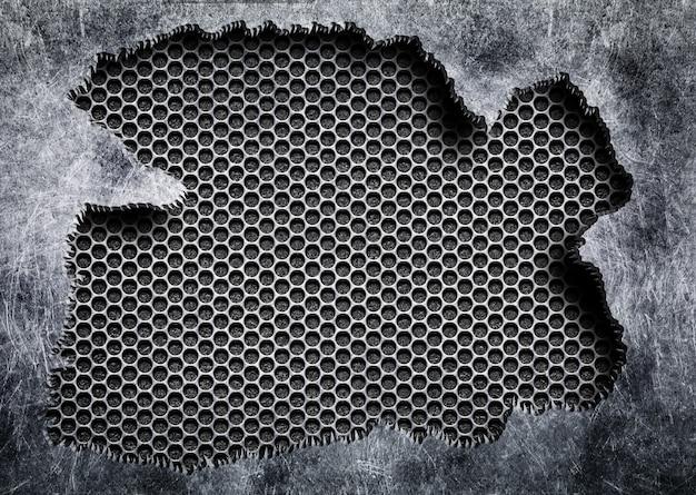 Matériau déchiré avec surface métallique en maille