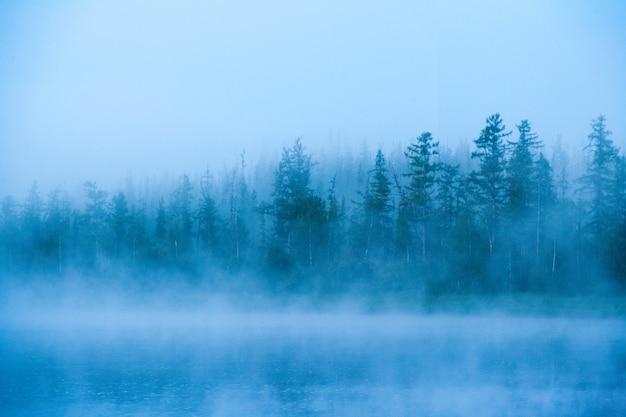 Matin brumeux sur la rivière bahta. sibérie orientale, russie
